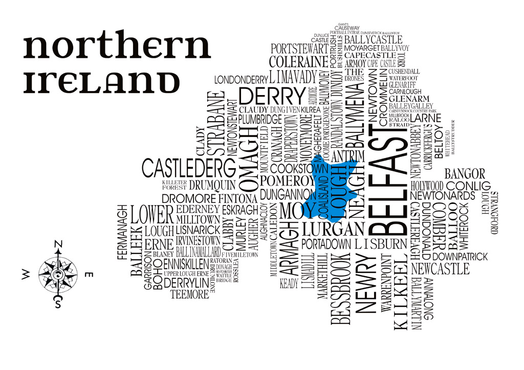 Map Of Northern Ireland Cities.Northern Ireland Word Map